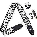 Amumu Retro Hootenanny Ribbon Woven Guitar Strap with Premium Leather Ends, Black and White