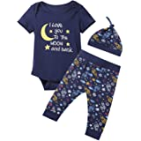 Baby Boys 3PCS Outfit Set Space Ship to The Moon and Back Romper Long Pants with Hat