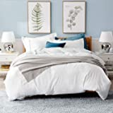 Bedsure Washed Grey Duvet Cover Set with Zipper Closure, Ultra Soft Hypoallergenic Comforter Cover Sets, Microfiber, White, K