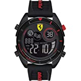 Ferrari Men's Forza Quartz Watch with Silicone Strap, Black, 22 (Model: 0830743)