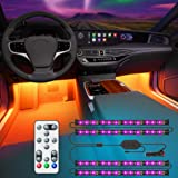 Govee Car Interior Lights with Remote and Control Box, Upgraded 2-in-1 Design Interior Car LED Lights with 32 Colors, 48 LEDs