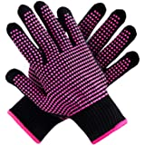 Teenitor 2 Pcs Heat Resistant Gloves with Silicone Bumps, (New Upgraded ) Professional Heat Proof Glove Mitts for Hair Stylin