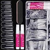 Nail Kit Acylic Nails - Ejiubas Press On Nails Set 500PCS Coffin Nail Tips Clear Half Cover False Nails Set 4PCS Nail Glues 1