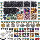 EuTengHao 702Pcs Lava Beads Stone Rock Beads Rainbow Striped Beads Kit with Chakra Beads Cloisonne Beads Spacer Beads Bracele