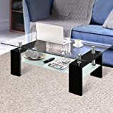 Artiss Coffee Table 2 Tier Tempered Glass Stainless Steel High Gloss MDF Board Storage Shelf Modern Furniture Home Living Roo