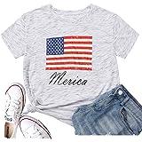 Hellopopgo Women's Merica USA Flag Baseball Printed Sport T-Shirt O-Neck Mom Causal Tee Tops Blouse Gift