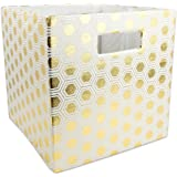 """DII Hard Sided Collapsible Fabric Storage Container for Nursery, Offices, & Home Organization, (13x13x13"""") - Honeycomb Gold"""