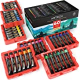 ARTEZA Watercolor Paint, Set of 60 Colors/Tubes (12 Ml/0.4 Us Fl Oz) with Storage Box, Rich Pigments, Vibrant, Non Toxic Pain