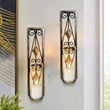 MISUMISO Wall Sconces Candle Holders Classic Metal Acrylic Wall Decorations with Unique Art Design for Living Room, Bathroom,