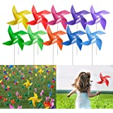 Tsocent 100 Pcs Pinwheels, 10 Mixed Colors Toy Wind Spinners and Party Favors Gifts for Kids, Outdoor Decorational Pinwheels