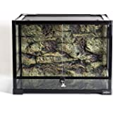 REPTI ZOO 34 Gallon Large Reptile Glass Terrarium Tank with Foam Backgrounds,Double Hinge Door with Screen Ventilation Reptil