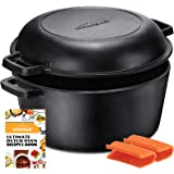 Overmont Dutch Oven 5 QT Cast Iron Casserole Pot + 1.6 QT Skillet Lid Pre Seasoned with Handle Covers for Camping Home Cookin