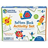 Learning Resources Pattern Block Activity Set, 20 Double-Sided Cards, Puzzles for Kids, for Kids, Ages 4+