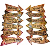 Alice in Wonderland Party Vintage Style Arrow Signs / Mad Hatters Tea Party Props Pack of 12 Signs