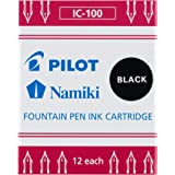 PILOT Namiki IC100 Fountain Pen Ink Cartridges, Black, 12-Pack (69100)