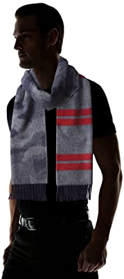 Wool Angora Camouflage Stripe Scarf 11-45-0394-145: Navy / Red