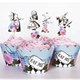 24 Vintage Alice in Wonderland Cupcake Toppers Picks + Wrappers by Red Fox Tail