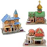 WWW 3D立体パズル DIY ドールハウス 建物模型 立体パズル ペーパークラフト 知育玩具 紙製パズル 子供 おもちゃ 大人 手作り 装飾 観賞 クリスマス プレゼント 8歳+ 3点セット ロシア