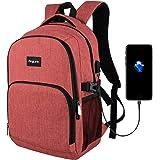 ビジネスリュックAngLink ビジネスバックパック 24L大容量 耐傷 PCリュック USB充電ポート 15.6インチノートPC収納 通勤 出張 旅行 赤/グレー