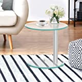 Artiss Coffee Table End Side Tables Bedside Top Home Furniture Oval Clear Tempered Glass Aluminium Tubular Standing 2-Tier Sh