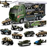 Coolplay 10 in 1 Military Truck for Toddler Army Vehicle Mini Battle Car Toy Set in Carrier Truck for Kids Boys 3 Years Old