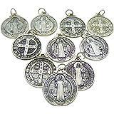 Set of 10 St Benedict Medals 7/8 inch Metal Saint Pendant Bulk Lot