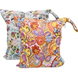 Baby Wet Bag Dry Bag Splice Cloth Diaper Wet Bags Waterproof Small Size with Zipper Snap Handle Pack of 2 (Flower and Candy I