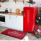 Christmas Snowflake Kitchen Floor Mat Winter Red Sparkle Comfort Mats Entryway Welcome Non Slip Rug for Indoor Hallway Front