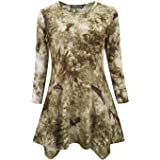 Womens Tie Dye Print Long Sleeve Trapeze Tunic Loose Fit Swing Tunic Tops for Leggings