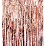 Blukey Foil-Fringe-Backdrop-Curtain-3FTx8FT-Rose Gold-Metallic-Photo-Booth-Tinsel-Curtain, Perfect Christmas/Wedding/Party De