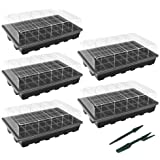 """Gardzen 5-Set Garden Propagator Set, Seed Tray Kits with 200-Cell, Seed Starter Tray with Dome and Base 15"""" x 9"""" (40-Cell Per"""