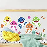 RoomMates RMK4303SCS Baby Shark Peel and Stick Wall Decals, Small, blue, pink, yellow
