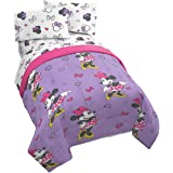 Jay Franco Disney Minnie Mouse Purple Love Twin Comforter - Super Soft Kids Reversible Bedding - Fade Resistant Polyester Mic