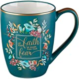Let Your Faith Be Bigger Than Your Fear   Inspirational Coffee Mug for Women   (12-Ounce Turquoise Ceramic Cup for Tea or Cof