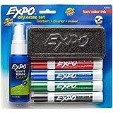 EXPO Dry Erase Marker Starter Set, Chisel Tip, Assorted, Whiteboard Eraser, Cleaning Spray, 6 Count