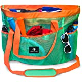 Red Suricata Large Mesh Beach Bag – Mesh Beach Tote Bag with Pockets - Beach Bags and Totes for Women with YKK Zipper & 7 Lar