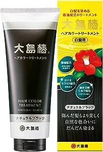 大島椿 ヘアカラートリートメント ナチュラルブラック 180g 白髪染め (男女兼用 パラベン・ジアミンフリー)