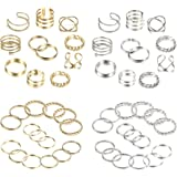 YADOCA 52 Pcs Simple Knuckle Rings for Women Vintage Stackable Midi Finger Rings Set Silver/Gold Tone