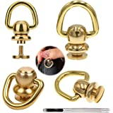 Brass Ball Studs Rivets D Ring for Leather Crossbody Purse Craft,4 Sets