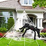 Halloween Decorations Spider Web Triangular Mega Outdoor Graveyard Decor Stretch Cobweb Set Scary Props Shooter with Giant Bl