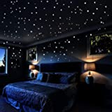 Glow In The Dark Stars Wall Stickers, 253 Adhesive Dots and Moon Luminous Ceiling Decals for Lovers' Bedroom Decor - Star War