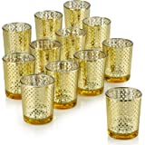 PARNOO Mercury Glass Candle Holders for Votive Candles and Tealights Set of 12 Lattice Gold