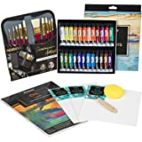 MEEDEN 40 Pcs Oil Painting Kit with 24x12ML Oil Paint Set, 10 Oil Paintbrushes, Canvas Panel, Oil Painting Pad, Palette Knife