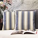 JOJUSIS Stripe Throw Pillow Covers Farmhouse Pillowcases Pack of 2 20 x 20 Inch Blue