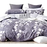 Essina Queen Quilt Cover Duvet Cover Doona Cover Set 3pc Pictorial Collection, 100% Cotton 620 Thread Count, Pillow Sham, Mis