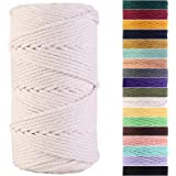 Macrame Cord 3mm x 109Yards 100% Natural Cotton Macrame Rope Cotton Cord for Handmade Macrame Supplies, Wall Hanging, Plant H