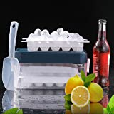 blackgik Sphere Ice Ball Maker Molds, Round Ice Cube Tray with Storage Container Box, Locking Lid, Scoop, Silicone Plastic Ic