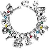 Bracelet Themed Charm Friendship Bracelets 8-Inch Silver with Jewelry Box for Teens Girl Women