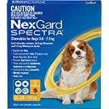 Nexgard N5836 Flea, Tick & Worming Monthly Chew, Spectra, Dog, 3.6-7.5kg, 3pk, Yellow, Small