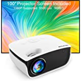 Video Projector,NICPOW 5500L Projector with 100Inch Projector Screen,1080P Supported Outdoor Movie Projector,Compatible with